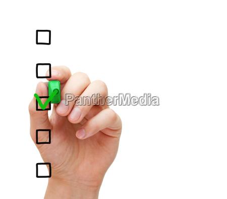 leere umfrage checkliste konzept