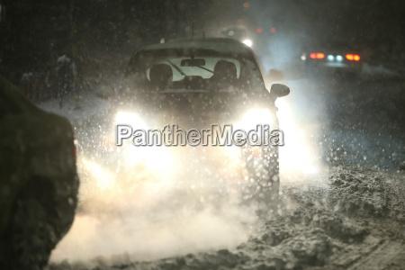blizzard in traffic