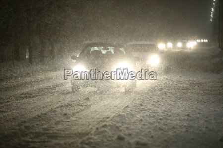 cars in snowfall