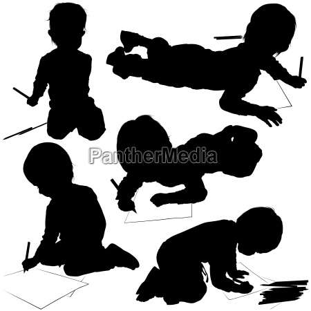 children coloring silhouettes