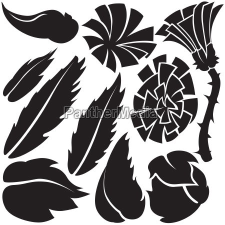flower element silhouettes