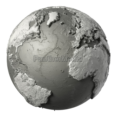 3d globe atlantic ocean