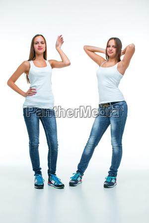 portrait von zwei schoenen doppel junge