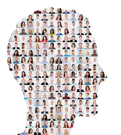 menschen collage konzept auf menschliches gesicht