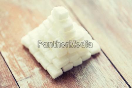close up of white sugar pyramid