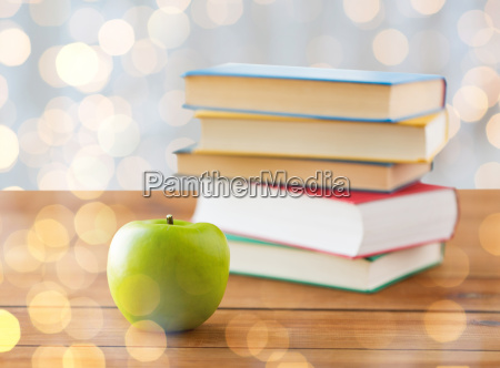 close up of books and green