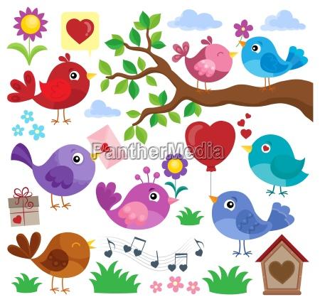 valentine birds theme set 1