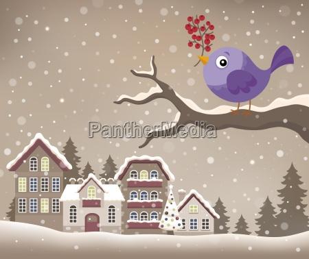 stylized winter bird theme image 1