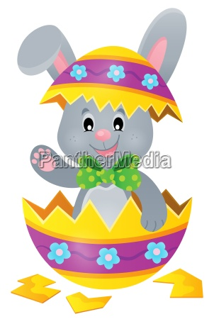 easter bunny in eggshell theme image