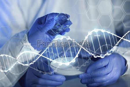 nahaufnahme von wissenschaftlern haende mit chemikalien