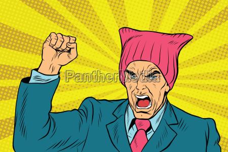 wuetend retro politiker feministische
