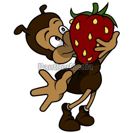ant holding strawberry