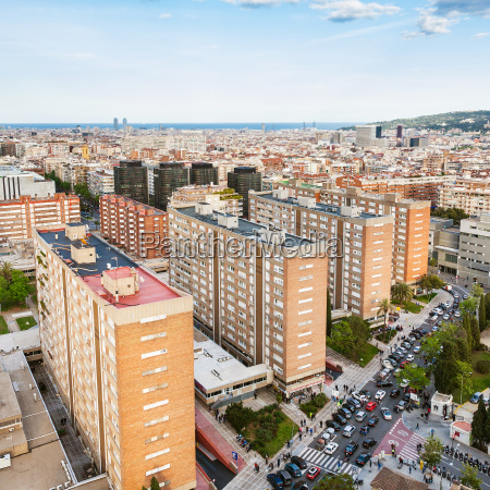 residential district in barcelona in evening