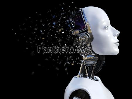 3d rendering von weiblichen roboter kopf