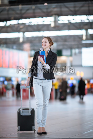 pretty young female passenger at the