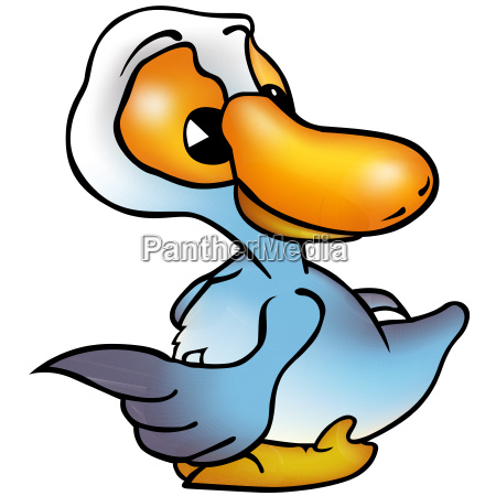 blue duck pointing