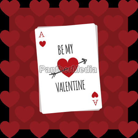 be my valentine playing card illustration