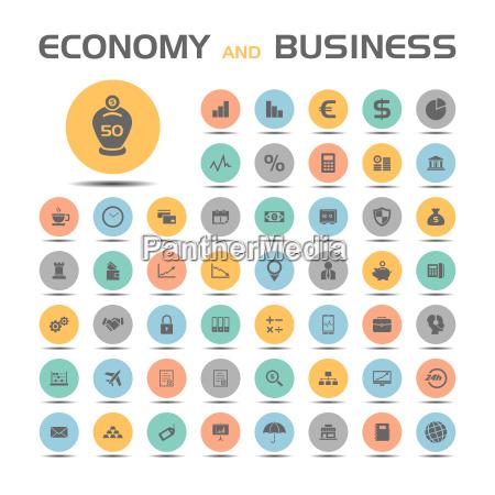 wirtschaft und business symbole auf farbigen