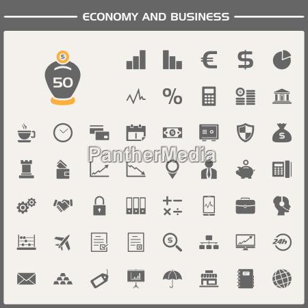wirtschaft und business icons set