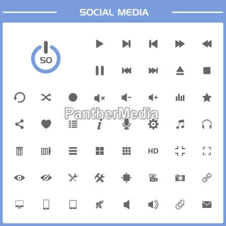 social media icons auf einfache darstellung