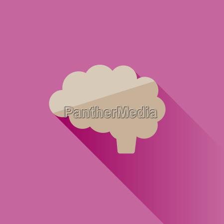 gehirn symbol mit schatten auf rosa