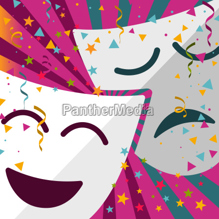 carnival masks with confetti stars and
