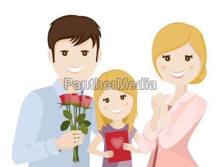 familie feiert muttertag illustration