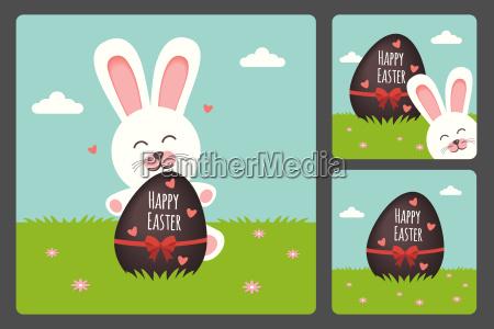 happy easter bunny in drei verschiedenen