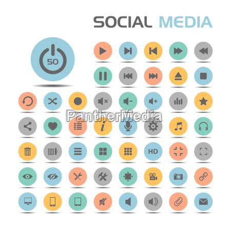 social media icons auf farbigen tasten