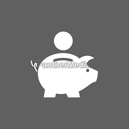 piggy bank symbol auf dunklem hintergrund