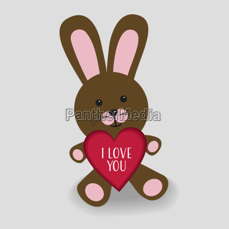pink bunny with heart i love