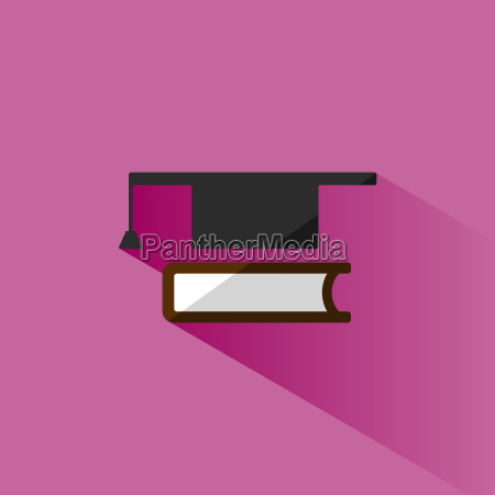 mortarboard with book icon on pink