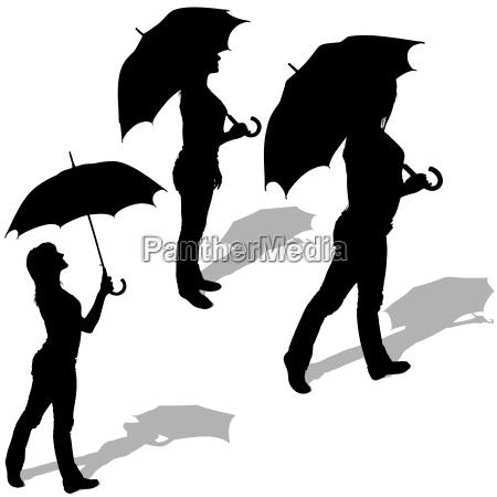 girl under umbrella silhouettes