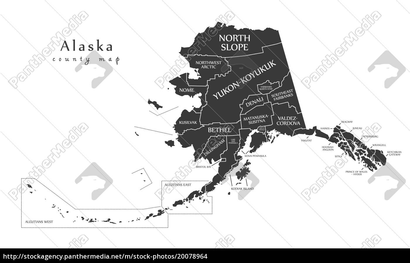 Lizenzfreies Foto 20078964 - moderne karte alaska county map mit den  etiketten usa