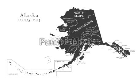moderne karte alaska county map mit