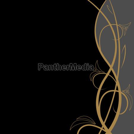 golden vine floral background