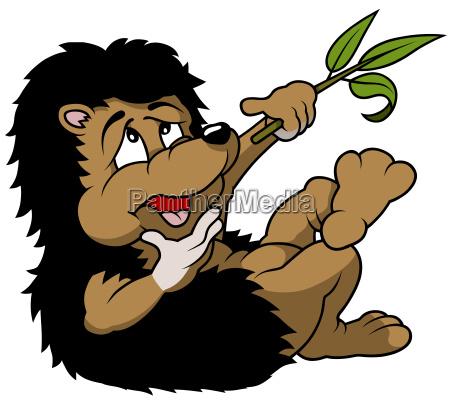 hedgehog holding a branch