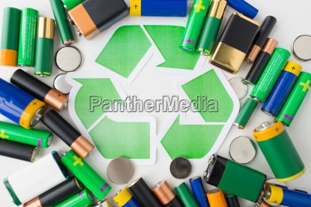 nahaufnahme von batterien und gruene recycling