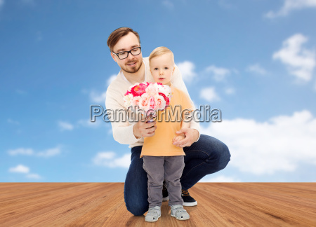 happy father and son with bunch