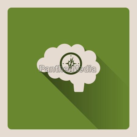 gefuehrte gehirn illustration auf gruenem hintergrund