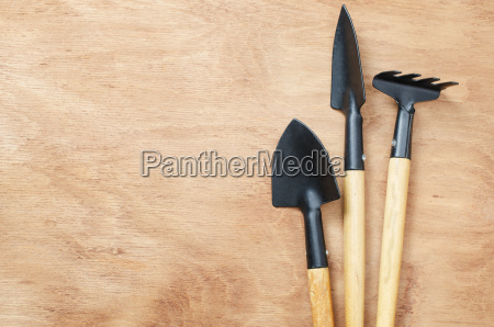 set of tools for gardening on
