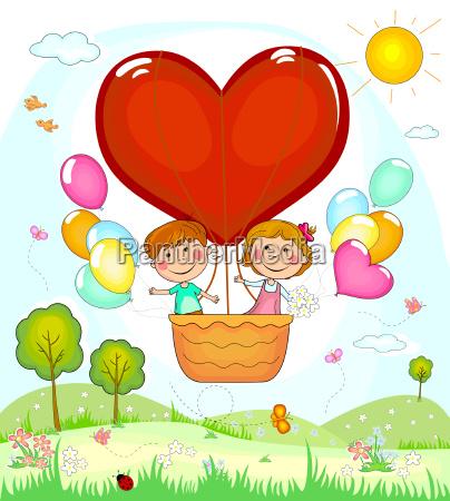 children in a balloon