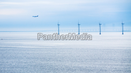airplane bridge and offshore wind farm
