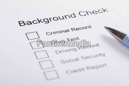 close up of background check form
