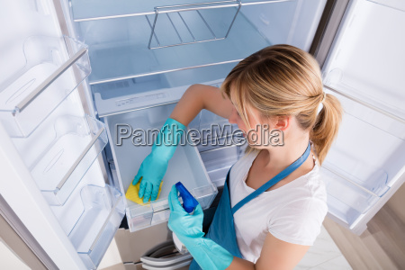 high angle view of woman cleaning