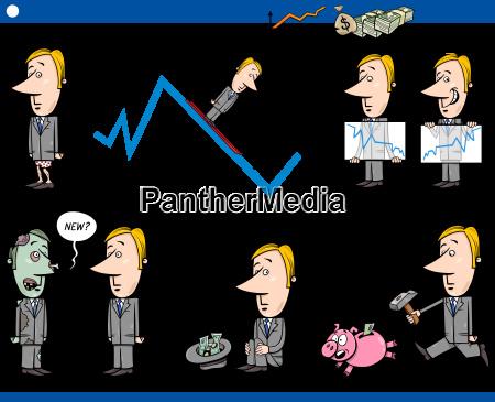 business cartoon concept set