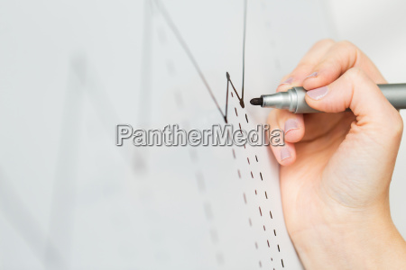 close up of hand drawing graph