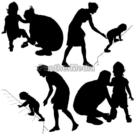 mom and little child silhouettes