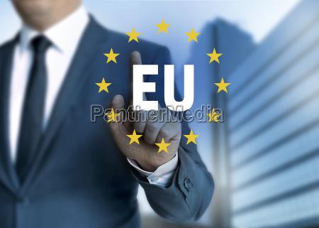 ue union europea concepto de pantalla