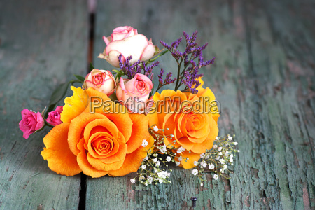 colorful bouquet of roses on an